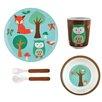 Knack3 Fox and Owl 5 Piece Dinnerware Set