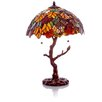 """River of Goods Stained Glass Marvel 24.5"""" Table Lamp with Bowl Shade"""