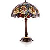 "River of Goods Stained Glass Cobweb and Dragonfly 29"" Table Lamp with Bowl Shade"