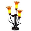 """River of Goods Handblown Three Lily and Dragonfly 21.25"""" H Table Lamp"""