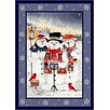 Milliken Winter Seasonal Holiday Merry Minstrels Snowman White/ Blue Area Rug