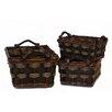 Baum 3 Piece Basket with Wood Handles Set