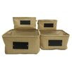 Baum 4 Piece Burlap Basket with Chalkboard Set