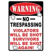 River's Edge Products Warning No Trespassing Tin Sign Wall Art