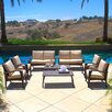 Home Loft Concept Irving Outdoor Wicker 8 Piece Seating Group with Beige Cushions