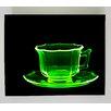 Radiant Art Studios X-ray Designs Uranium Glass Teacup Graphic Art Plaque