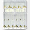 Window Elements Pineapple 3 Piece Embroidered Kitchen Tier and Valance Set