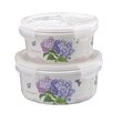 <strong>2 Piece Hydrangea Melamine Round Storage Container Set</strong> by Shall Housewares International