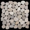 Pebble Tile Sliced Pebble Random Sized Natural Stone Mosaic in Tan