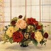 Floral Home Decor Silk Flower Centerpiece with Rose and Artichoke