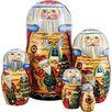 <strong>Russia 5 Piece X-Mas Workshop Nested Doll Set</strong> by G Debrekht