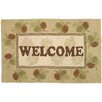 Homefires Welcome Pine Cones Brown Area Rug