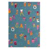 Dynamic Rugs Fantasia Blue Alphabet Area Rug