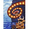 Art Excuse 'Space Cow Waiting Techno Phone' by Gravity George Original Painting on Wrapped Canvas