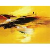 Art Excuse 'Sunset Waterfall' by AX Original Painting on Wrapped Canvas