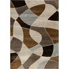 Central Oriental Providence Brown Distorted Plaid Area Rug