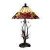 <strong>Dale Tiffany</strong> Floral with Dragonfly Tiffany 2 Light Table Lamp