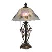 "<strong>Dale Tiffany</strong> Hand Painted Purple Flower 23.5"" H Table Lamp with Empire Shade"