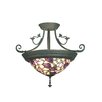 <strong>Pink Floral 4 Light Semi Flush Mount</strong> by Dale Tiffany