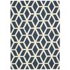Nourison Linear Blue and Ivory Rug
