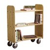 "<strong>Diversified Woodcrafts</strong> 15"" Solid Oak Book Truck With 3 Flat Shelves"