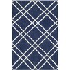 Safavieh Dhurries Navy/White Area Rug