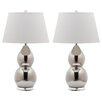"Safavieh Jill Double Gourd 25.5"" H Table Lamp with Empire Shade (Set of 2)"