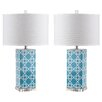 "Safavieh Quatrefoil 27"" H Table Lamp with Drum Shade (Set of 2)"