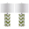 "Safavieh Chevron Stripe 27"" H Table Lamp with Drum Shade (Set of 2)"