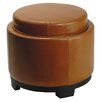 <strong>Round Cocktail Leather Ottoman</strong> by Safavieh