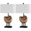"Safavieh Nautilus Shell 28"" H Table Lamp with Rectangular Shade (Set of 2)"