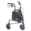 Drive Medical 3 Wheel Rollator Walker with Basket Tray and Pouch