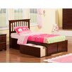 Atlantic Furniture Mission Twin XL Slat Bed with Drawers