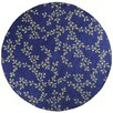 17 Magazine Rugs Flirty Floral Royal Blue Kids Round Rug
