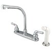 <strong>Elements of Design</strong> Magellan Double Handle Centerset Kitchen Faucet with Modern Lever Handles and White Side Spray