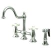 Elements of Design Double Handle Widespread Bridge Faucet with Porcelain Cross Handles