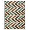 <strong>Roma Herringbone Ivory/Turquoise Rug</strong> by Linon Rugs