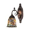 Mix-N-Match 1 Light Wall Sconce with Dragonfly Design Glass Shade