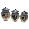 <strong>Certified International</strong> Lille Rooster by Geoffrey Allen 3 Piece Canister Set