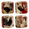 """<strong>Certified International</strong> Fancy Rooster 6"""" Canape Plates (Set of 4)"""
