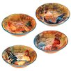 Certified International Rustic Rooster 4 Piece Soup/Pasta Bowl Set