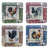 "Certified International Lille Rooster by Geoffrey Allen 8.25"" Salad Plate (Set of 4)"