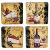 "Wine and Cheese Party 8.5"" Square Salad Plate (Set of 4)"