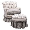 <strong>Angel Song</strong> Toile Black Adult Princess Glider Rocker and Ottoman