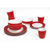 Twinkle 16 Piece Porcelain Dinner Set in Red