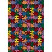 Joy Carpets Whimsy Essentials Puzzled Jigsaw Pieces Area Rug