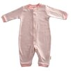 Tadpoles Organic Double Knit Cotton Footless Snap Front Romper in Salmon