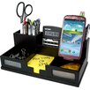 Victor Technology Midnight Black Desk Organizer with Smart Phone Holder