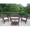 <strong>Oakland Living</strong> Resin Wicker 4 Piece Lounge Seating Group Set