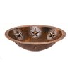 Premier Copper Products Oval Star Undermount Hammered Copper Bathroom Sink